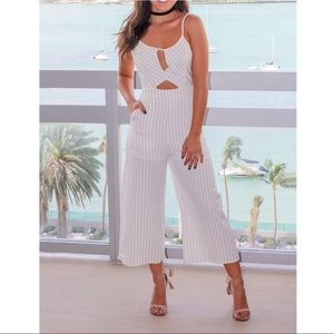 Pinstripe Cut Out Jumpsuit